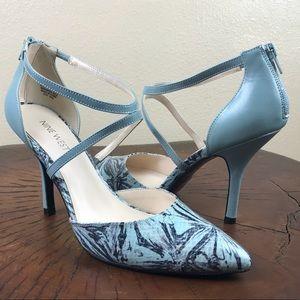 Nine West Heels Blue Green Floral Size 8.5